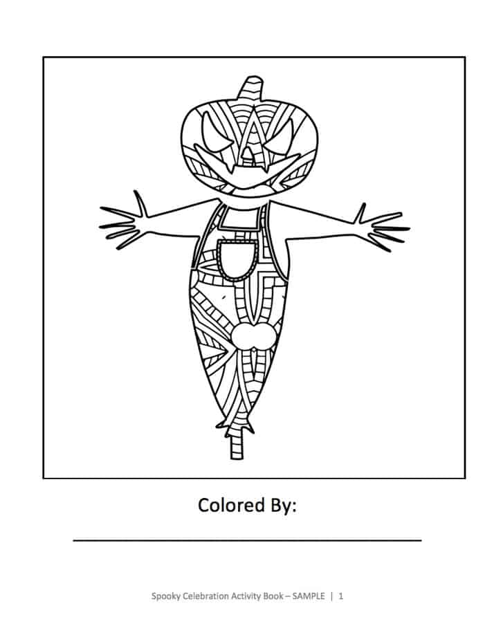 A sample coloring page from Spooky Celebration