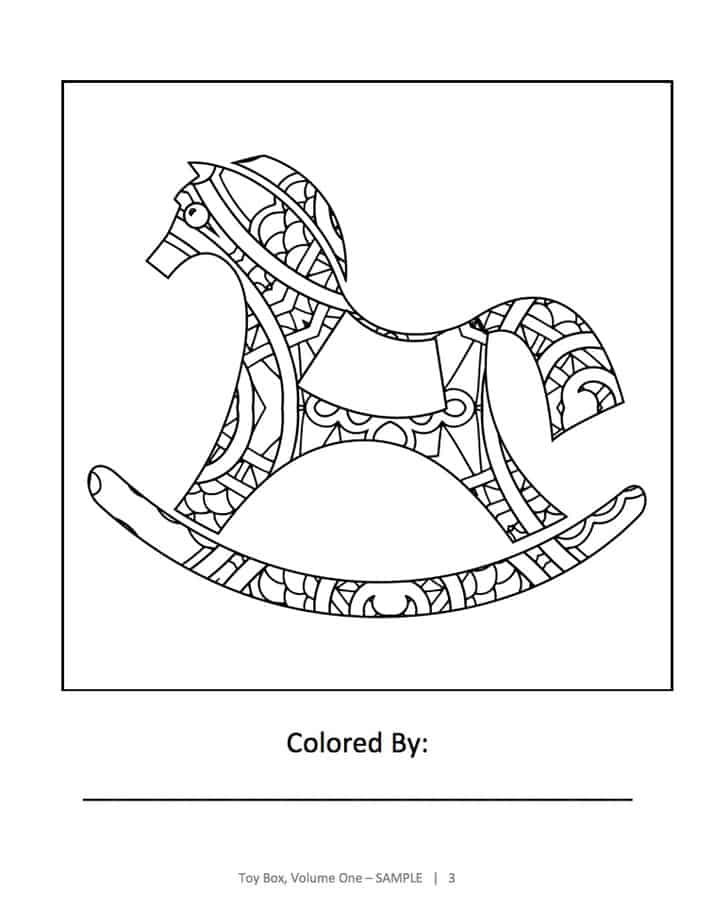 Here's a sample page from Toy Box Coloring Book