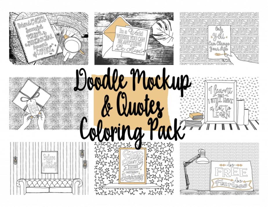 Doodle Mockup And Quotes Coloring Pack