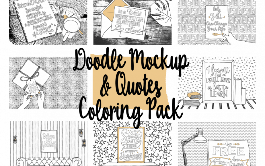 Doodle Mockups & Quotes Coloring Pack (PLR)